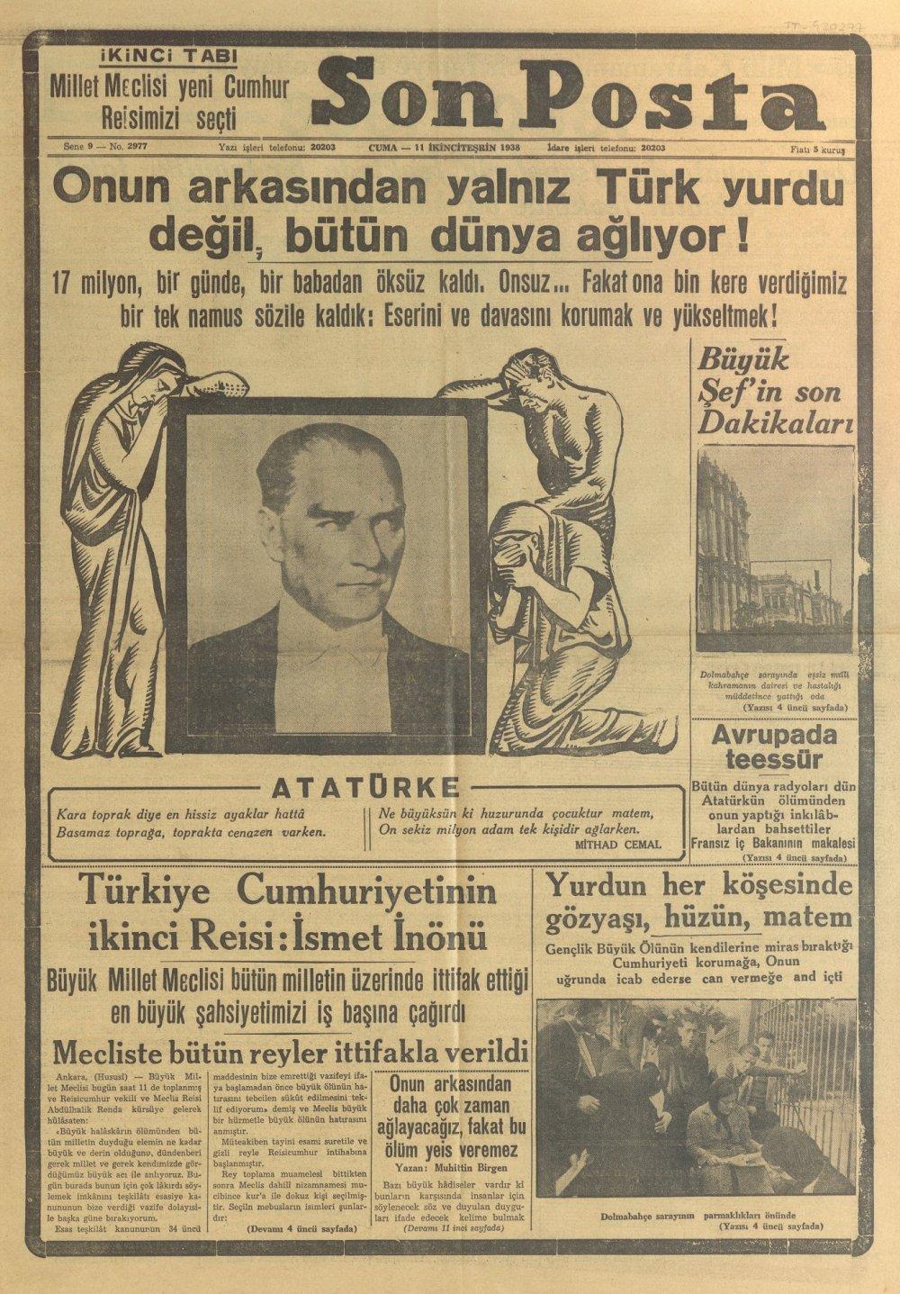 10 kasım 1938 gazeteleri