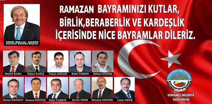 Osmaneli Belediye Başkanı Münür Şahin'in Ramazan Bayramı Mesajı