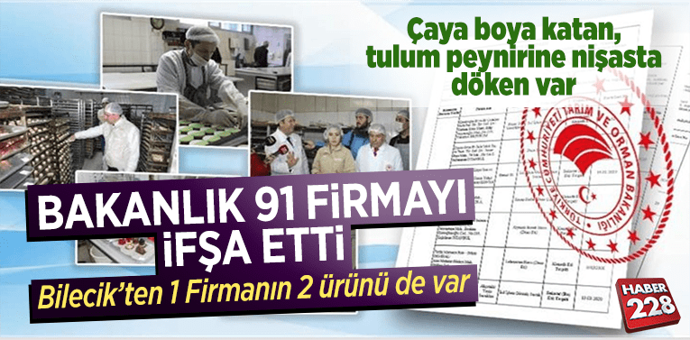 Tarım ve Orman Bakanlığı Bilecik'ten 1 firmanın 2 ürününü ifşa etti