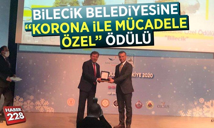 """Bilecik Belediyesine """"Korona İle Mücadele Özel Ödülü"""" Verildi"""