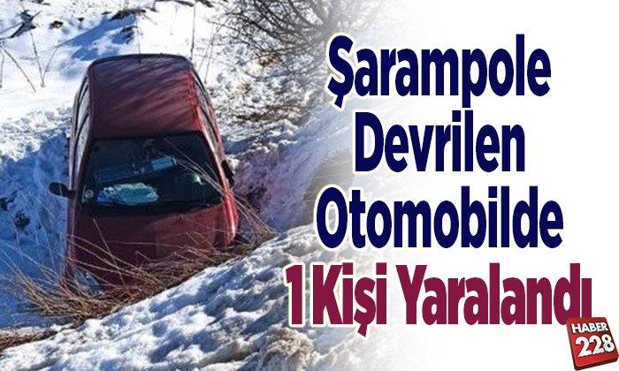 Şarampole Devrilen Otomobilde 1 Kişi Yaralandı