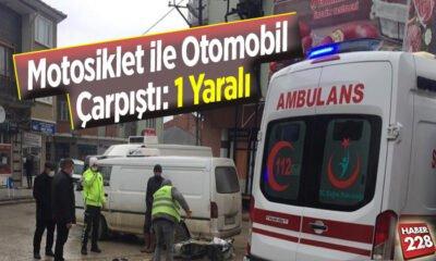 Motosiklet ile otomobil çarpıştı: 1 kişi yaralandı